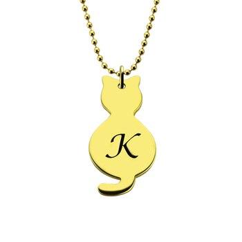 AILIN collier petit chat avec initiale gravée enfants nom collier or couleur initiale pendentif animaux colliers