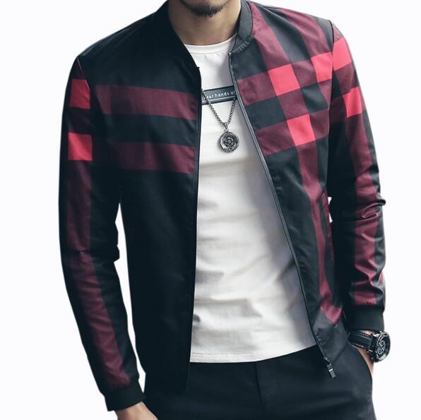 Hotsale Plaid Jacket Men Bomber Jacket Fashion Slim Mens jackets and Coats Chaquetas Hombres Jaquetas Bomber Plus Size 4XL 5XL