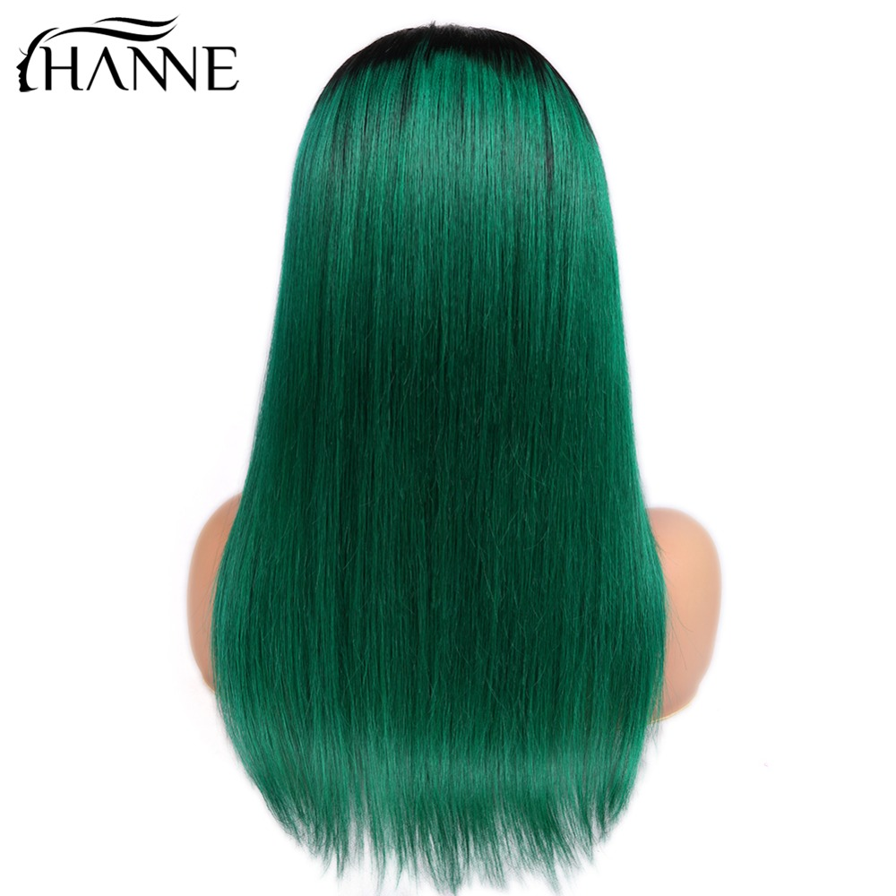 4*4 Closure Wigs Brazilian Human Hair Wig With Baby Hair Middle Part Ombre Wigs Straight Hair For Black Women 150% Density HANNE