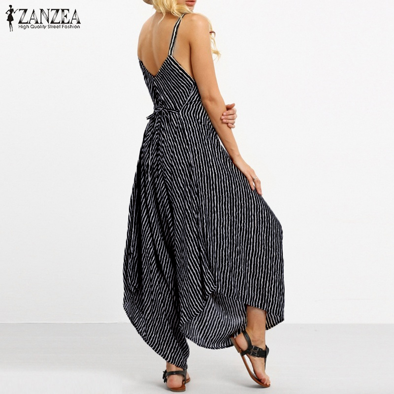 1fb3a170cf33 2018 ZANZEA Rompers Womens Jumpsuit Sexy Strapless Casual Loose Striped  Playsuits Backless Summer Overalls Oversized S 5XL-in Jumpsuits from Women s  ...