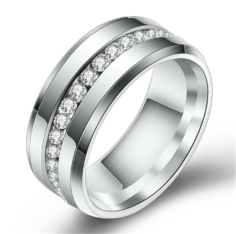 Cool Stainless Steel Wedding Ring For Lovers Ring Men Titanium Black Gold Silver Full Crystal Engagement Wedding Rings