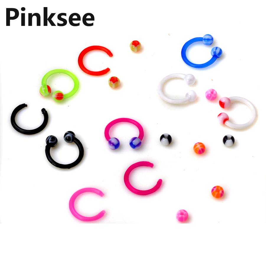5PCS HOT Fashion Circular Bead Rings Horseshoe Eyebrow Tongue Nose Hoop Piercing Labret Stud Ring Ear Cartilage Tragus Jewelry in Body Jewelry from Jewelry Accessories