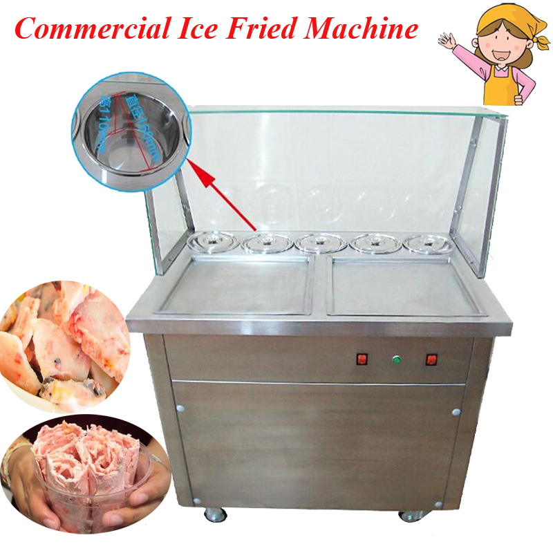 Movable Double Pots Commercial Fried Ice Cream Machine Roll Ice Cream Ice Frying Machine Roll Ice Cream Maker CB-340SF5XY ce fried ice cream machine stainless steel fried ice machine single round pan ice pan machine thai ice cream roll machine