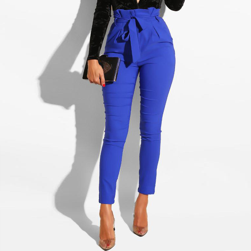 Women Hight Waist Pants With Waist Belt Elegant Casual Fashion Solid Office Work Wear Female Trouses Modest New Fashion Clothing