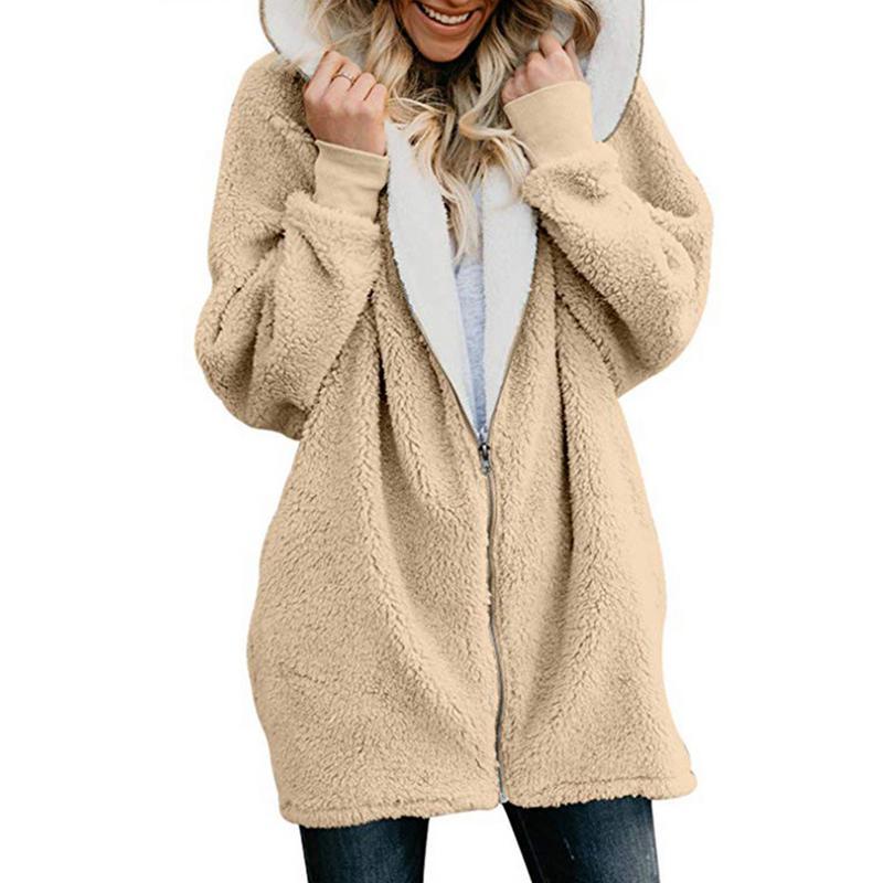 Oversize S-2XL Winter Faux Fur Teddy Coat Bear Jacket Women Fashion Cardigan Open Stitch Coat Female Long Sleeve Fuzzy Jacket