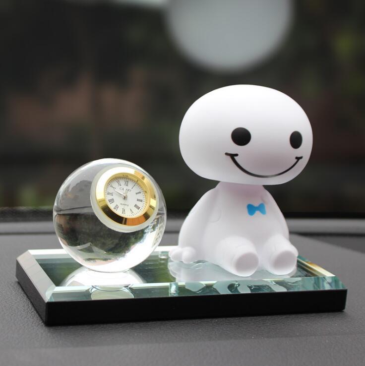 Cartoon Crystal Robot Shaking Head Figure Car Ornaments Auto Interior Decoration