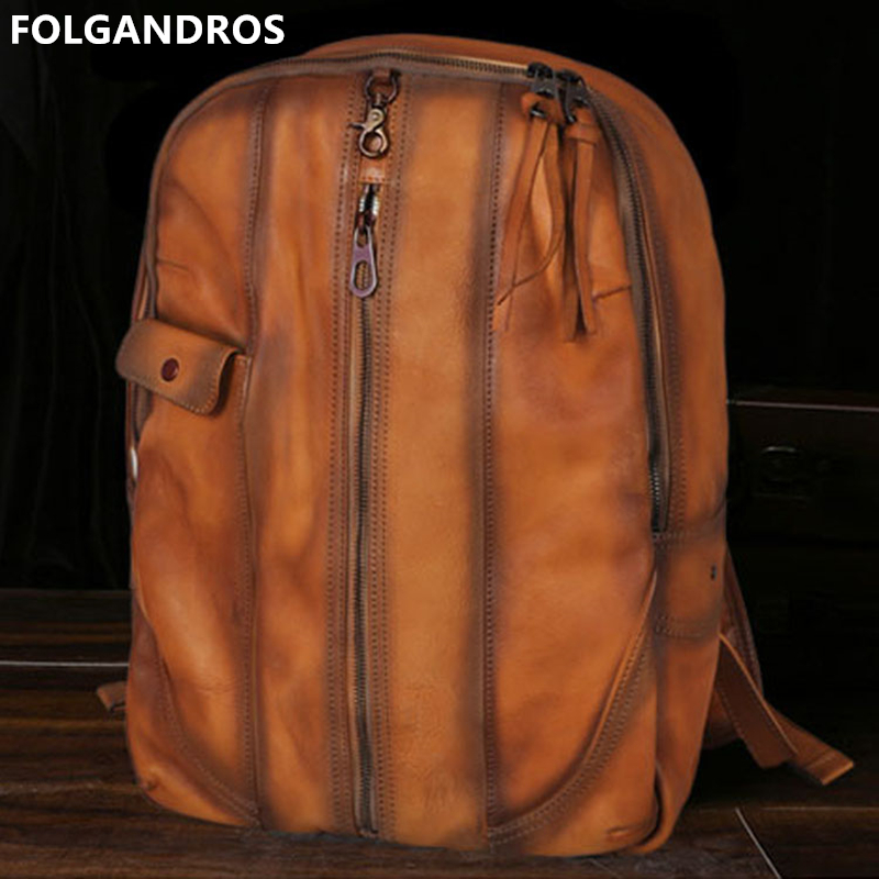 Genuine Leather Vintage backpack First layer cowhide backpack fashion multi-function travel bag backpack