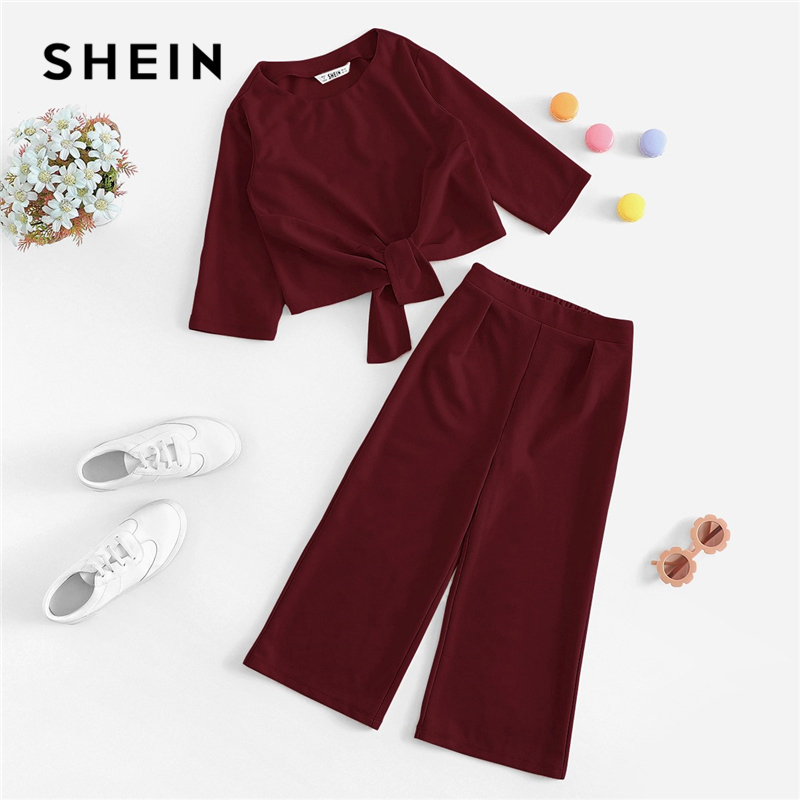 SHEIN Kiddie Maroon Knot Front Tee And Wide Leg Pants Set Girls Clothing 2019 Spring Long Sleeve Suit For Girl Kids Clothes puff sleeve crop top and wide leg pants set