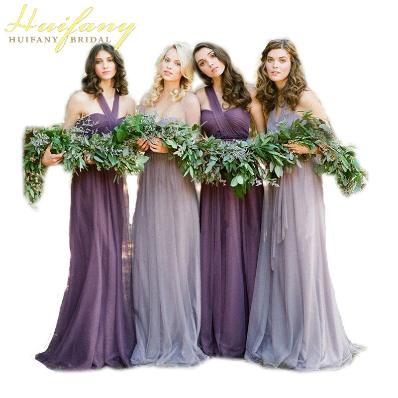 2018 Spring Party Dresses Lavender Purple Lilac Haler Strapless Floor Length Long Tulle Bridesmaid Dresses For Weddings AL060603