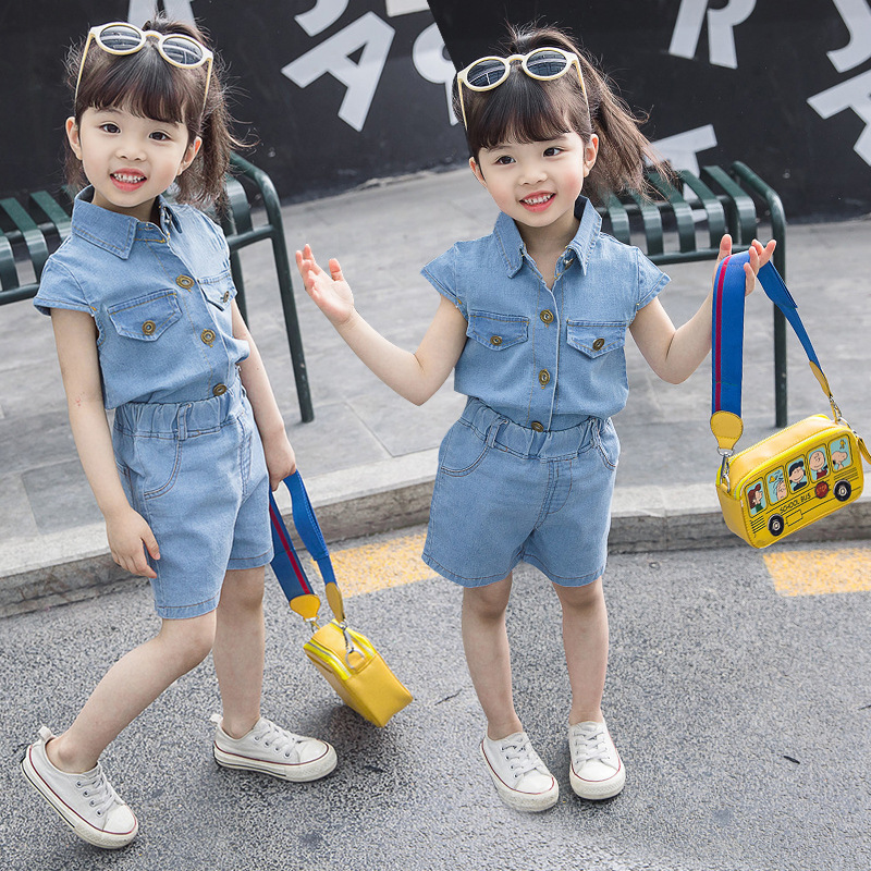 Fashion Summer Kids 2pc Outfits Children Clothing Sets Cotton Rainbow Jeans Vest Shirt Shorts Little Girls Casual Suit For 2 7Y in Clothing Sets from Mother Kids