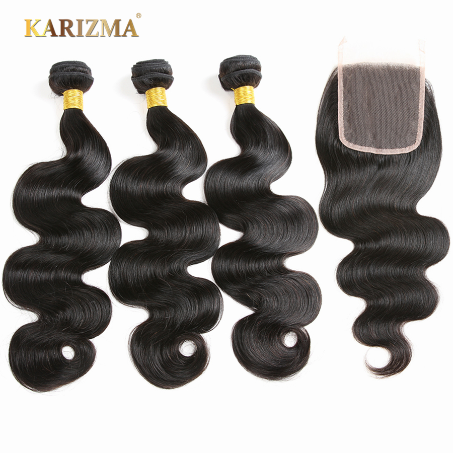 Karizma Hair Malaysian Body Wave Hair 3 Bundles With Closure 100% Non Remy Human Hair Wi ...