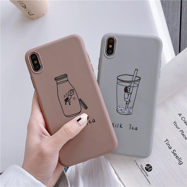 Cartoon Milk Tea Fitted Case For iPhone