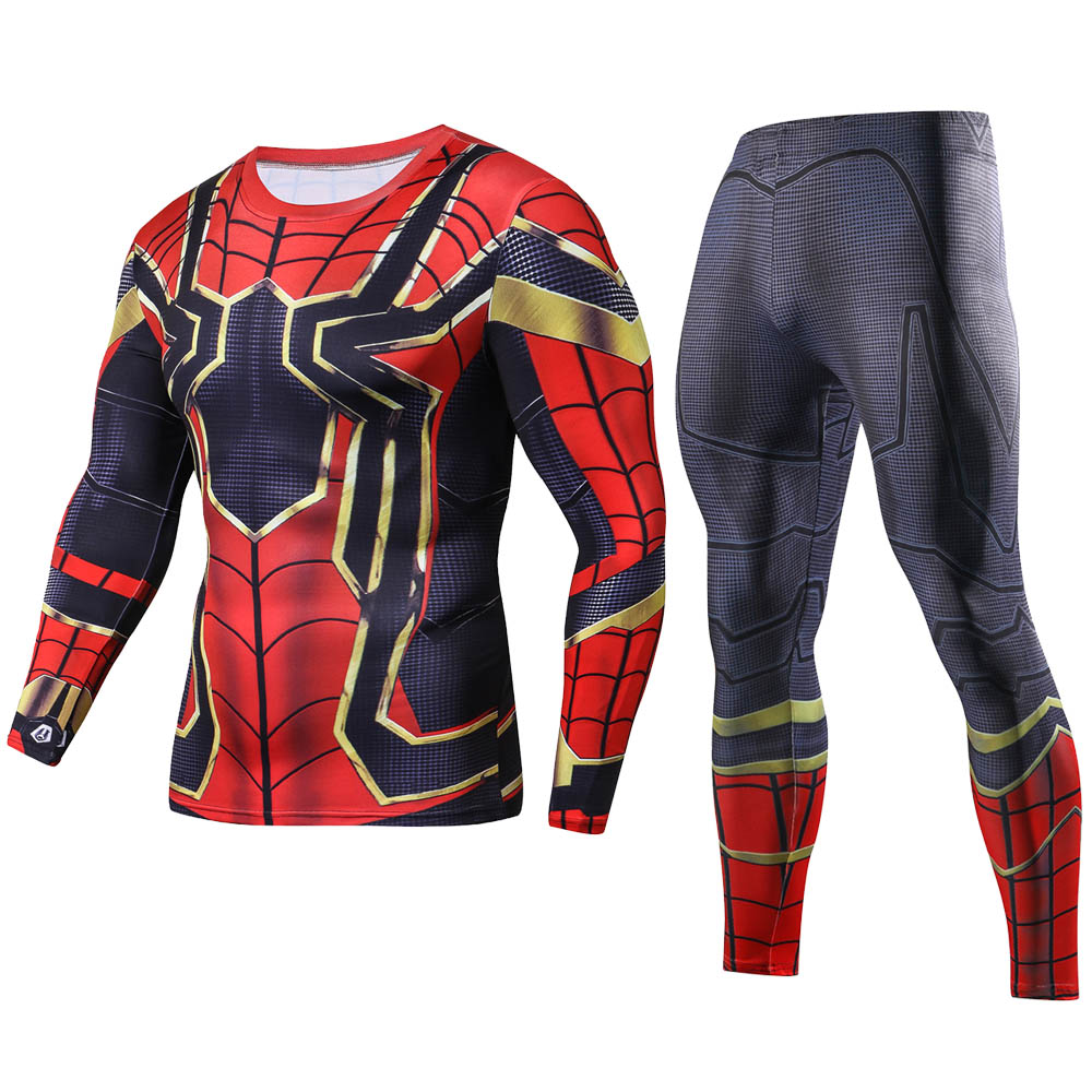 2018 Ferro Spiderman 3D Stampato magliette Lunghe Set Men compressione Shirt 2018 NEW Crossfit Tops Per Uomo Costume Cosplay Stes