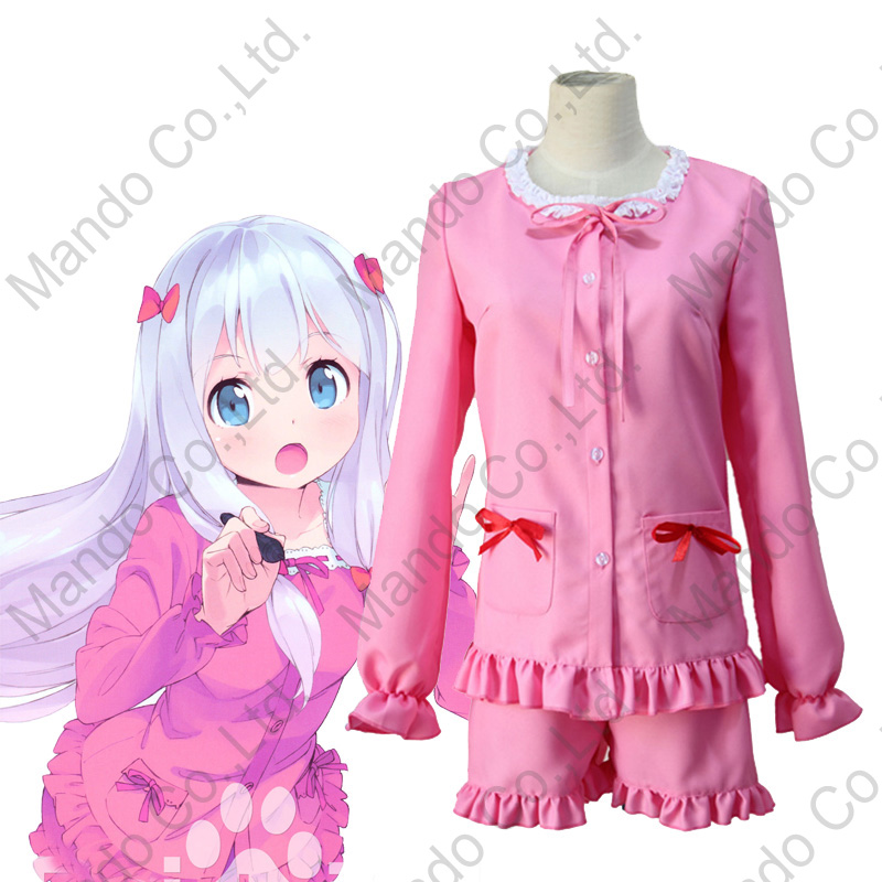 Anime Eromanga-sensei Cosplay Costumes Izumi Sagiri Cosplay Sleep Dress Pink Cotton Full Set Nightdress