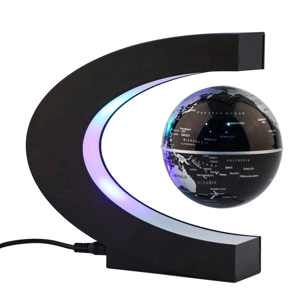 HGhomeart Luminous rotation C-shaped magnetic levitation globe table lamp Home Office Desk Decoration Suspended globe globe shaped aluminum shell precise compass