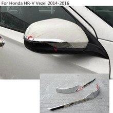 Car ABS chrome rear view Rearview Side Mirror Cover stick trim 2pcs For Honda HRV HR-V Vezel 2014 2015 2016
