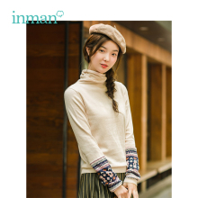 INMAN 2018 Cotton High Neck Artistic Ethnic style Pullover Sweater
