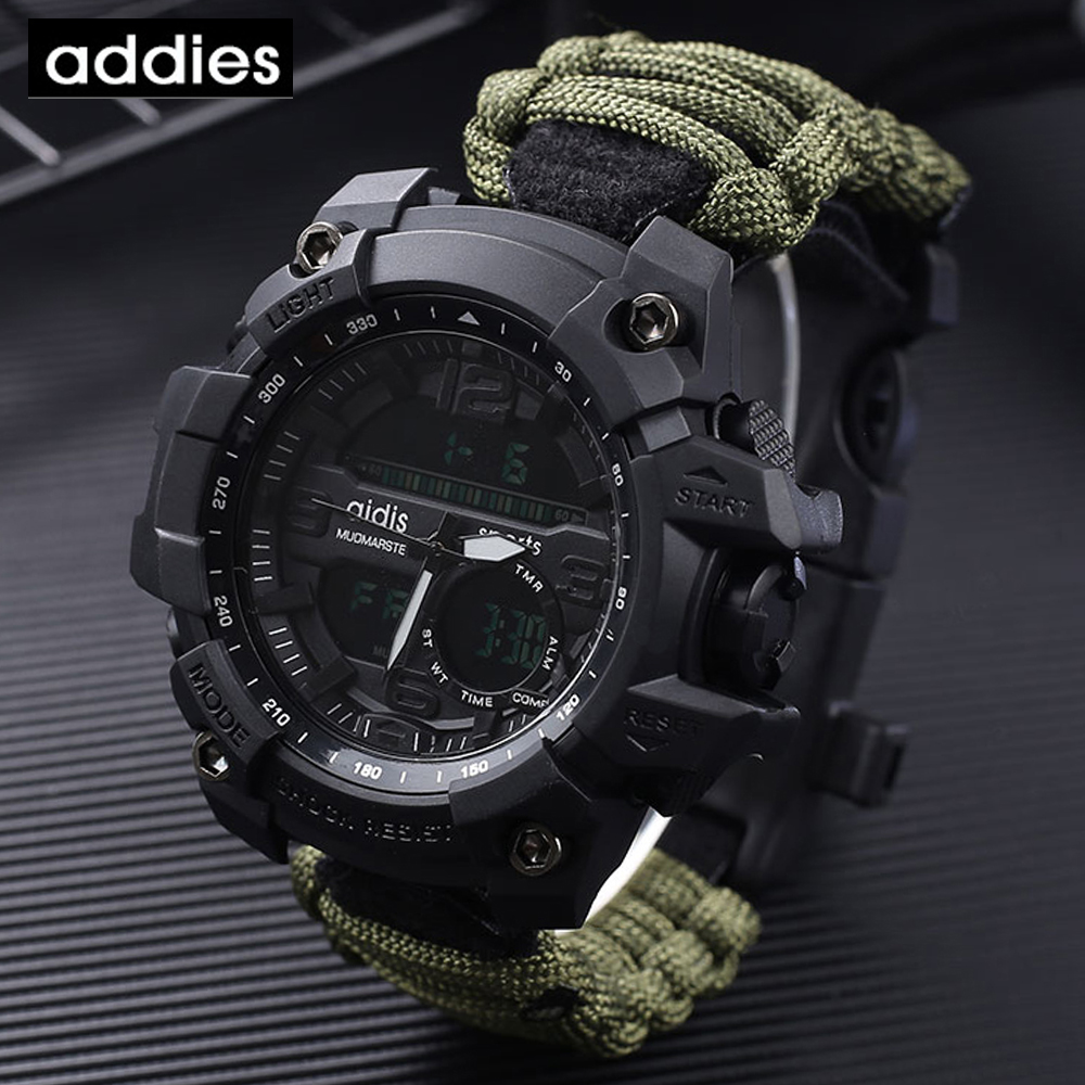 Outdoor Watch Whistles Compass Paracord Knife Quartz Survive Waterproof Emergency  title=
