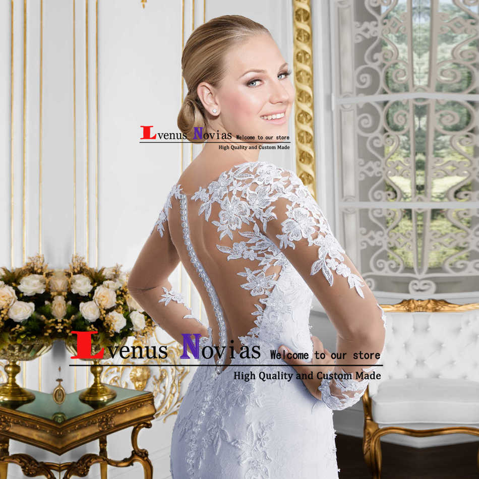 Vestido branco Barato Vestidos de Casamento Do Laço Da Sereia 2018 Sexy O Pescoço Longo Da Luva Do Vestido de Casamento China vestido de Noiva robe de mariee