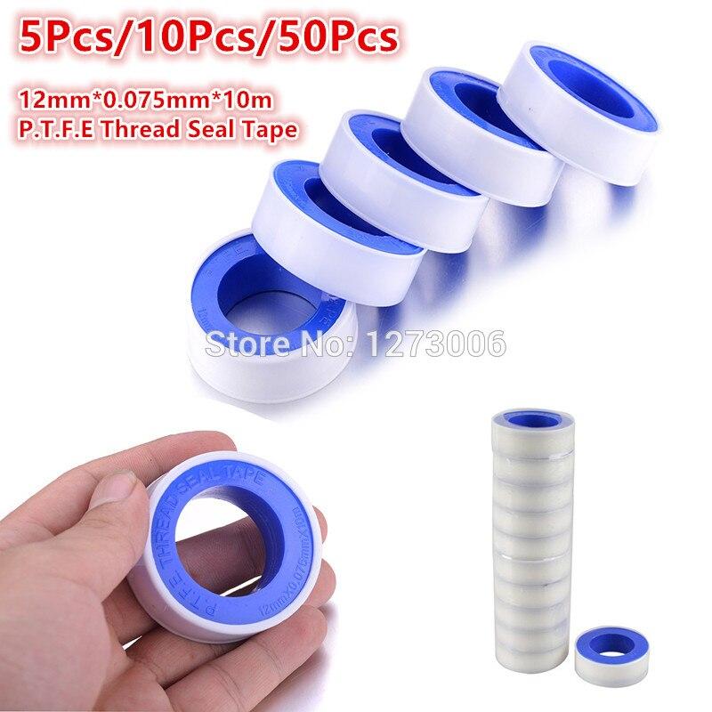 Universal 5/10/50 PCS 12mm*0.075mm*10m P.T.F.E Sealed Waterproof Raw Material Belt Teflon Thread Seal Plumbing Tape Hot Sale NEW