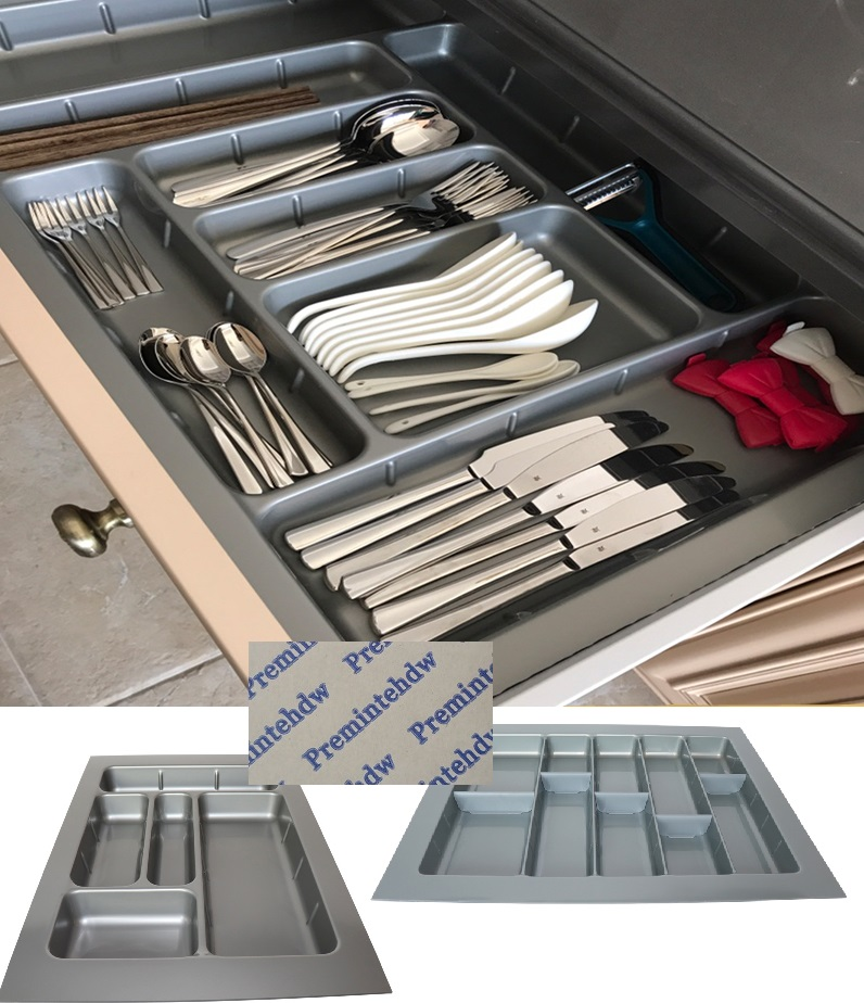 45cm-60cm Sizing ABS Plastic Cuttable Cutlery Tray Insert Inserts Utensil Holder Fitted Kitchen Drawer Box