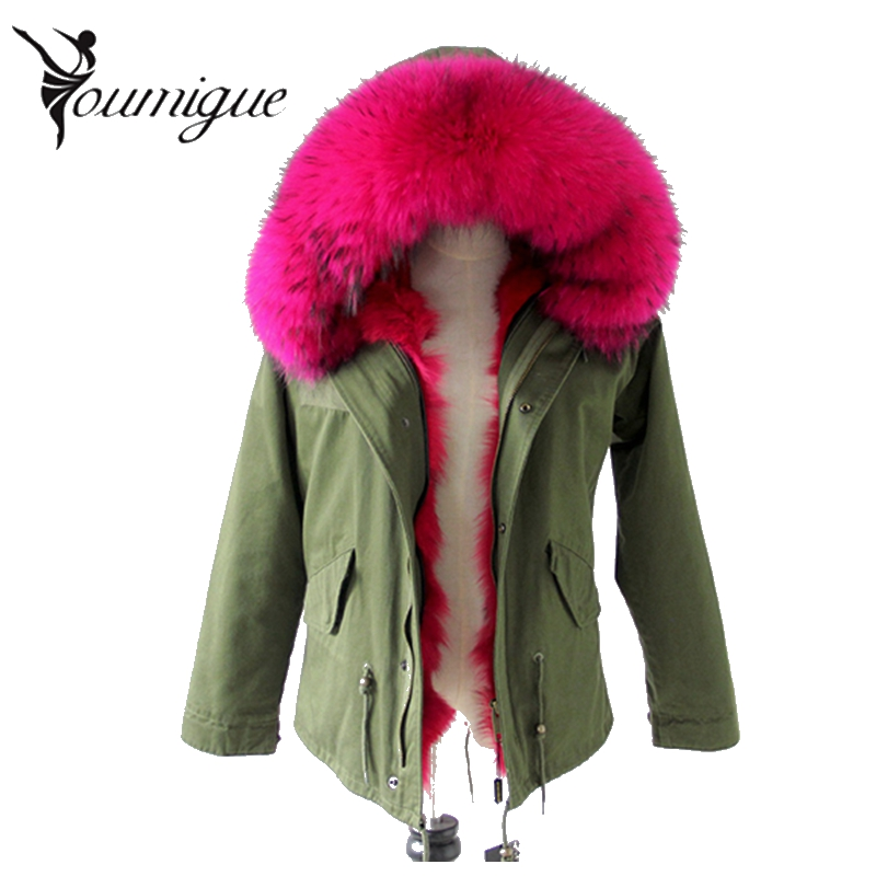 YOUMIGUE Women Coat Army Green Black Thick Parkas Real Raccoon Fur Collar Hooded Fox Fur Lining Parka Winter Jacket 2017 casacos светильник 241 103 01 velante