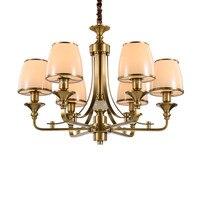 Новое поступление Европы все Медные подвесные лампы фойе латунь Искусство Декор лампа стеклянный абажур роскошный светодиодный светильни