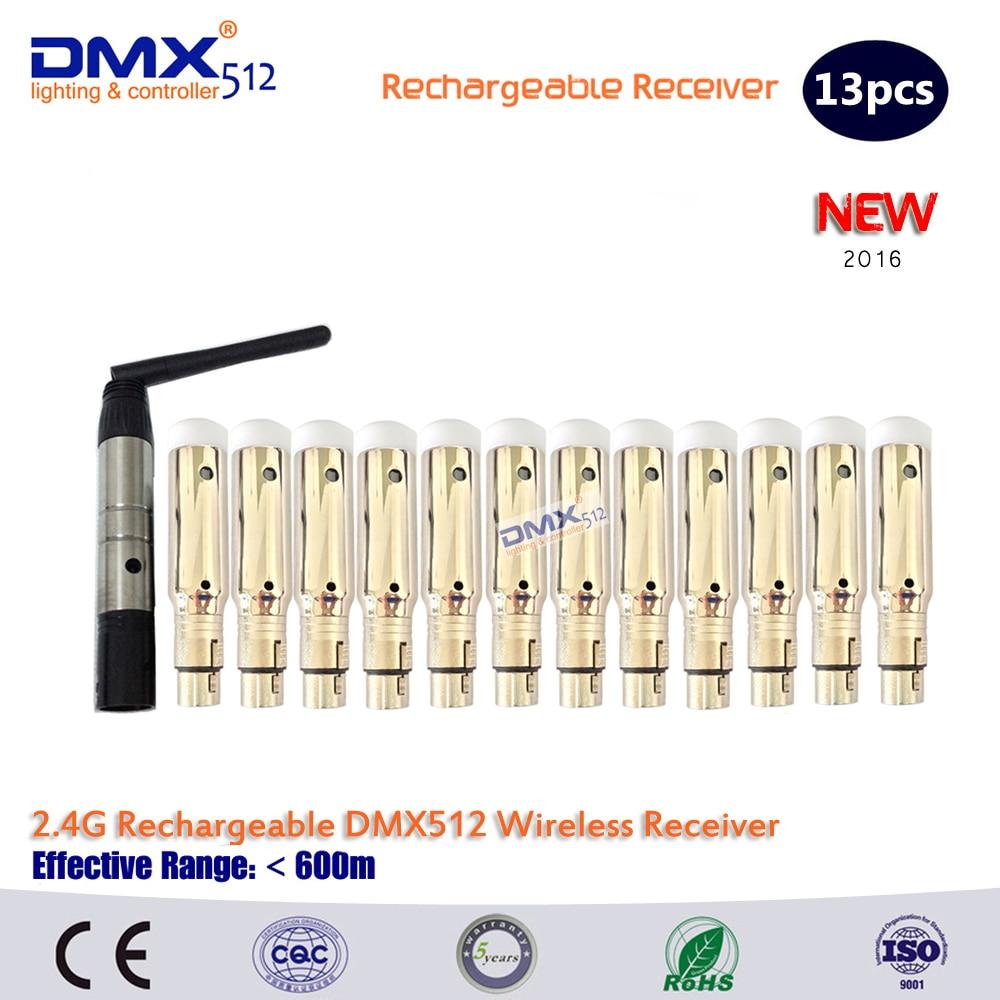 DHL Δωρεάν μεταφορά 2.4G DMX512 Ασύρματο 12 δέκτες Ενσωματωμένη μπαταρία και 1 ελεγκτή φωτισμού πομπού 3 χρόνια εγγύηση