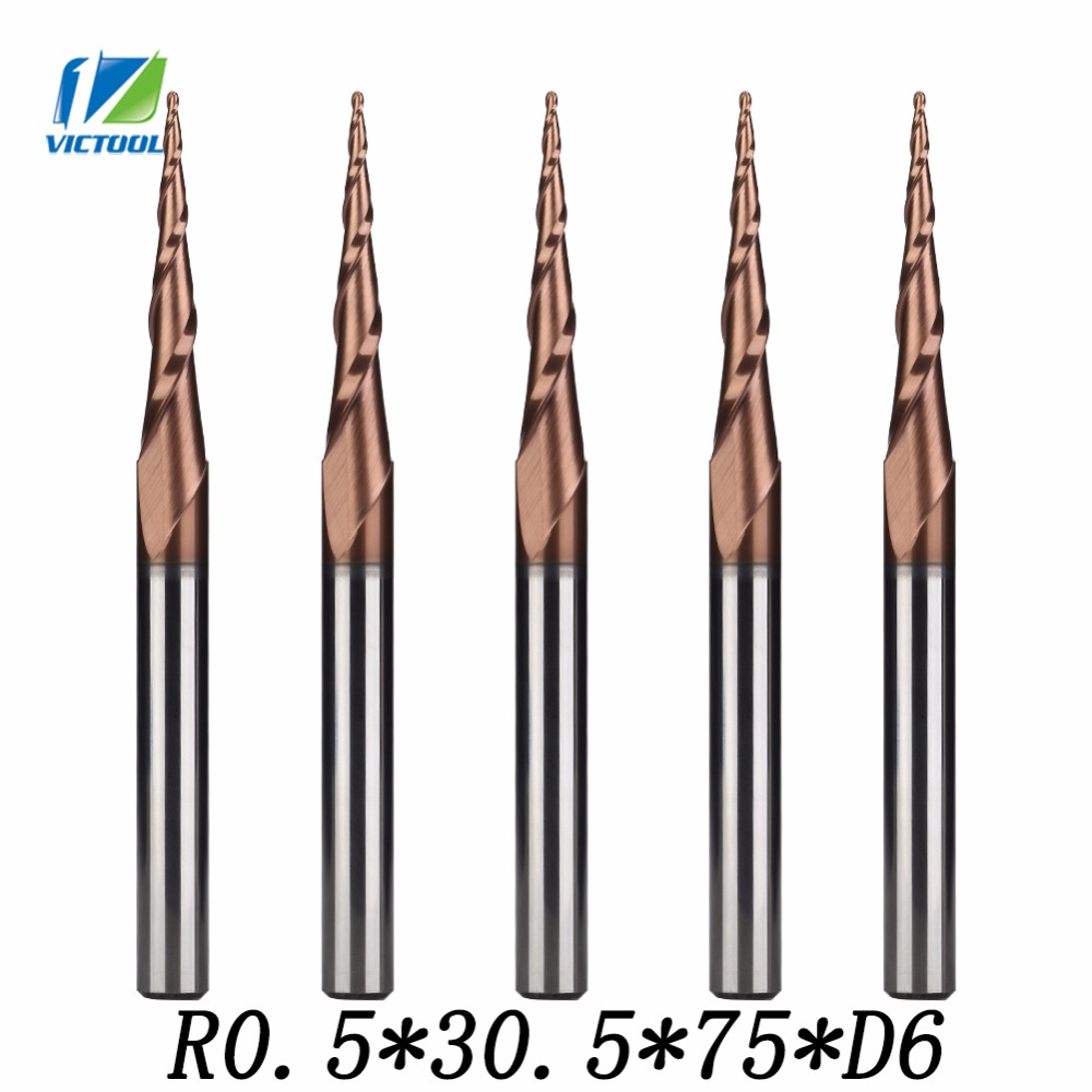 5pcs/lot H-SI Coated R0.5*D6*30.5*75L*2F Solid Carbide 6mm Ball Nose Tapered End Mills Router Bits cnc Taper Wood Metal Cutters 2pcs lot h si coated r0 25 d6 30 5 75l 2f solid carbide 6mm ball nose tapered end mills router bits cnc taper wood metal milling