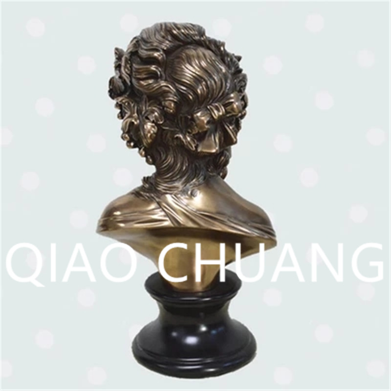 European Style Maiden Head Portrait Statue Creative Copper Art Craft Living Room Furnishing Articles G1242