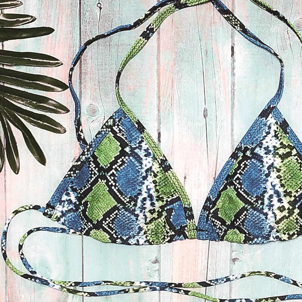 Soild Serpentine Afdrukken Halter Bikini set Lage Taille String 2 Stuk Afdrukken Badpak Push Up Padded Beach Badmode Купальник