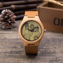 Custom Brand Your Own Photo Watch Leather Strap Luminous Wooden Causal Quartz Men Watches as Gift Customized Logo relojes hombre