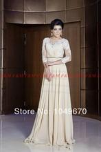 2016 neue Art Und Weise Arabische Abendkleider Mit Langen Ärmeln Durchsichtig Sexy Prom Kleider Abendkleider F & M911