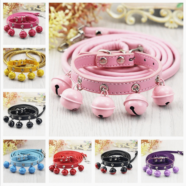 pet dog collar +leash PU Leather Small Dog Collar Leash Set Dog Collar with Bells Pet products Princess Leashes Collars S M