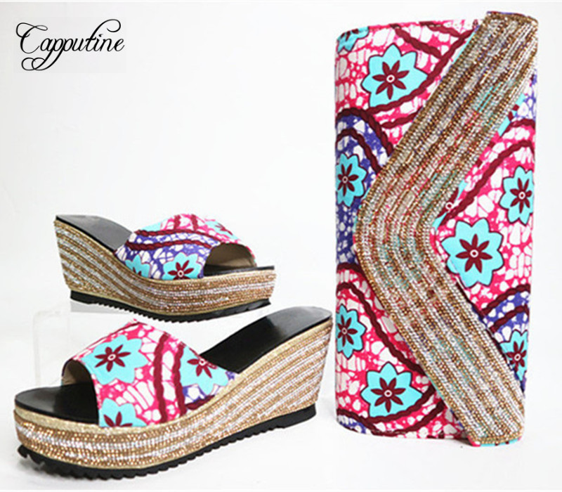 Capputine Nigerian Wax Fabric Made Shoes And Bag Set African Style Wedges Heels Shoes And Purse Set For Party Dress GL1 doershow african shoes and bags fashion italian matching shoes and bag set nigerian high heels for wedding dress puw1 19