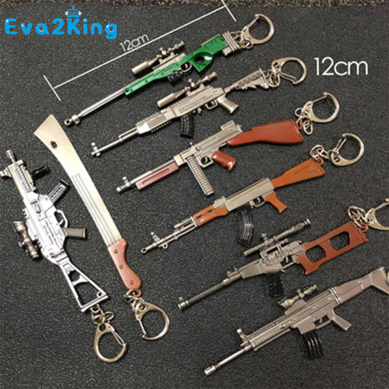 Eva2king 12CM Mini Simulation Weapon Model Keychain Field Survival Shooting Games Sniper Gun Model Sniper Rifles Toys