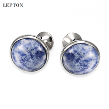 hot deal buy low-key luxury spot stone cufflinks for mens shirt cuff cuff links silver color lepton high quality round blue stone cufflinks