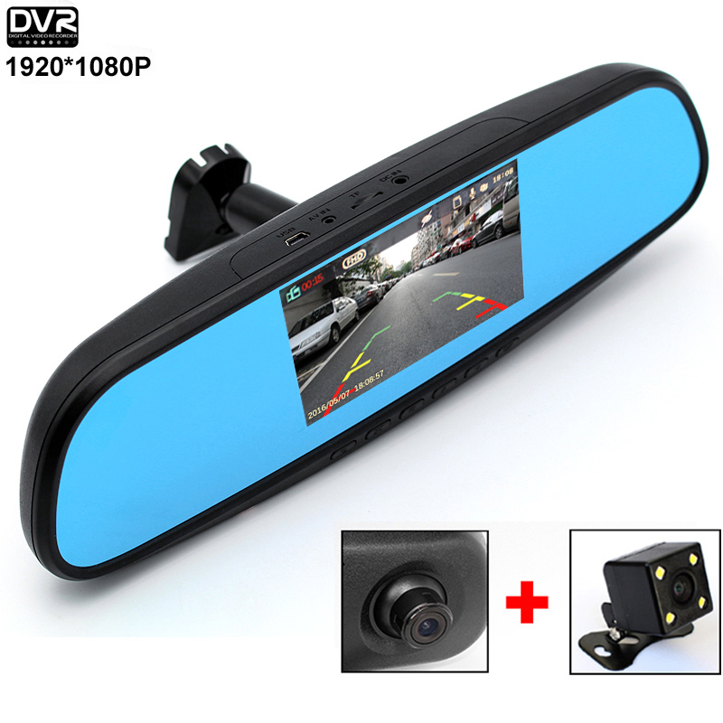 HD 1080P Car DVR Camera 4 3 DVR Mirror Monitor Rearview Mirror Car Video Recorder DVR