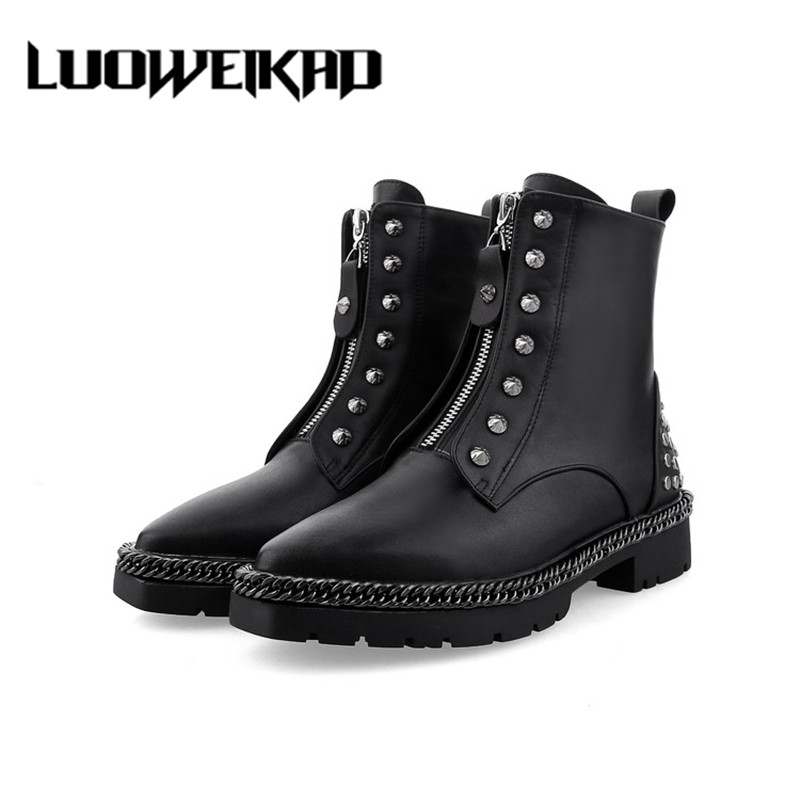 Rivet Female Ankle Boots Fashion Women Shoes 2017 Autumn Genuine Leather Shoes Rivet Female Ankle Boots women martin boots 2017 autumn winter punk style shoes female genuine leather rivet retro black buckle motorcycle ankle booties