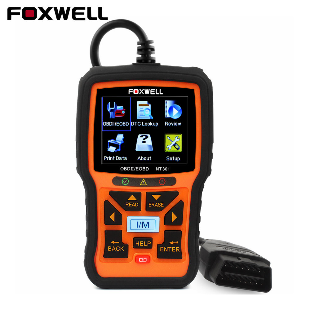 2017 OBD2 Auto Diagnostic Scanner Foxwell NT301 Multi-languages Engine Analyzer Read/Clear Fault Code Reader Scan Tool Universal car obd scan diagnostic interface scan tool blue
