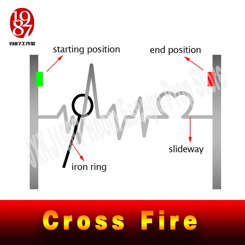 Image 4 - Pokój ucieczka gra puzzle cross fire prop zachować metalowy pierścień crossing, aby śledzić, aby odblokować zapobiegający oszustwom żelazny pierścień prowadnicy jxkj1987Zestawy systemów alarmowych   -