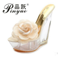 Women Sandal Shoes Woman Sandals New 2018 Transparent Kvoll Ultra high Heels Slippers Shaped Resin Flower Women's Wedges Shoes