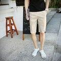2016 verão nova cor sólida minimalista dos homens shorts de algodão maré selvagem lazer shorts 6 cores tamanho M-5XL