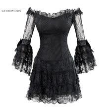 8bcae0360c8 Charmian Women s Sexy Floral Lace Off-Shoulder Mini Dress Black Three  Quarter Sleeve Flare Sleeve Gothic Punk Dress Vestidos