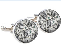 1 pair New Fashion 16mm cufflink Money Cuff Links 100 dollars cufflinks Handmade men shirt cufflinks(China)