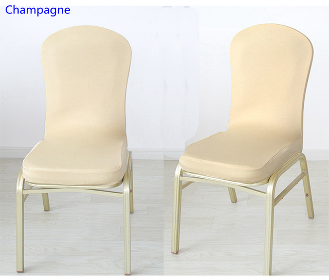 Champagne Banquet Chair Covers Baby Doll High Chairs Colour Spandex Half For Wedding Decoration Lycra Stretch Party Cover