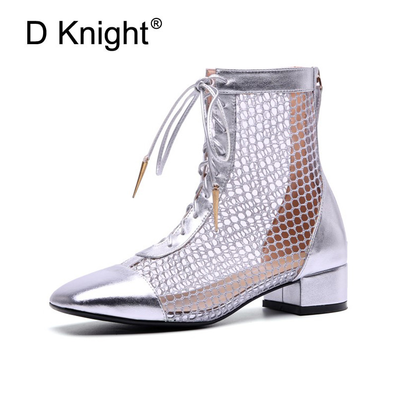 Silver Black Summer High Heel Women Boots Sandals Mesh Vamp Chunky Heels Long Boots For Women Punk Lace-up Ladies Shoes with Zip