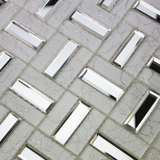 Mosaico del vidrio cristalino hoja del azulejo de pared de la cocina ...