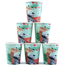 10Pcs\Lot Jungle Animal Theme Cups Birthday Party Decorations adult Disposable Tableware Decor Baby Shower Supplies