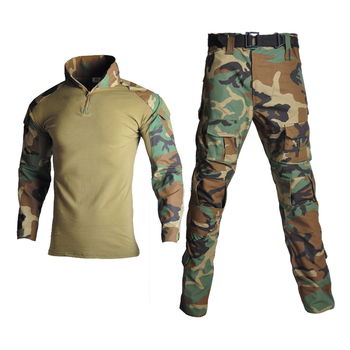 Man Tactical Camouflage Military Uniform Clothing Suit Men Long Sleeve Army Clothes Sets Airsoft Combat Shirt Cargo Pants No Pad